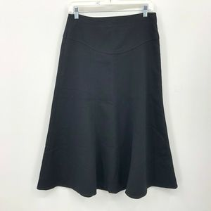 CAbi Skirt Sz 8 Front Zipper Midi Black